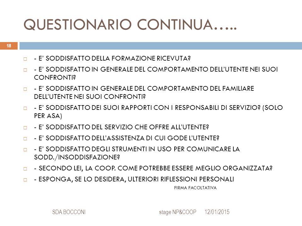 QUESTIONARIO CONTINUA….. 12/01/2015SDA BOCCONI stage NP&COOP 18  - E' SODDISFATTO DELLA FORMAZIONE RICEVUTA?  - E' SODDISFATTO IN GENERALE DEL COMPO