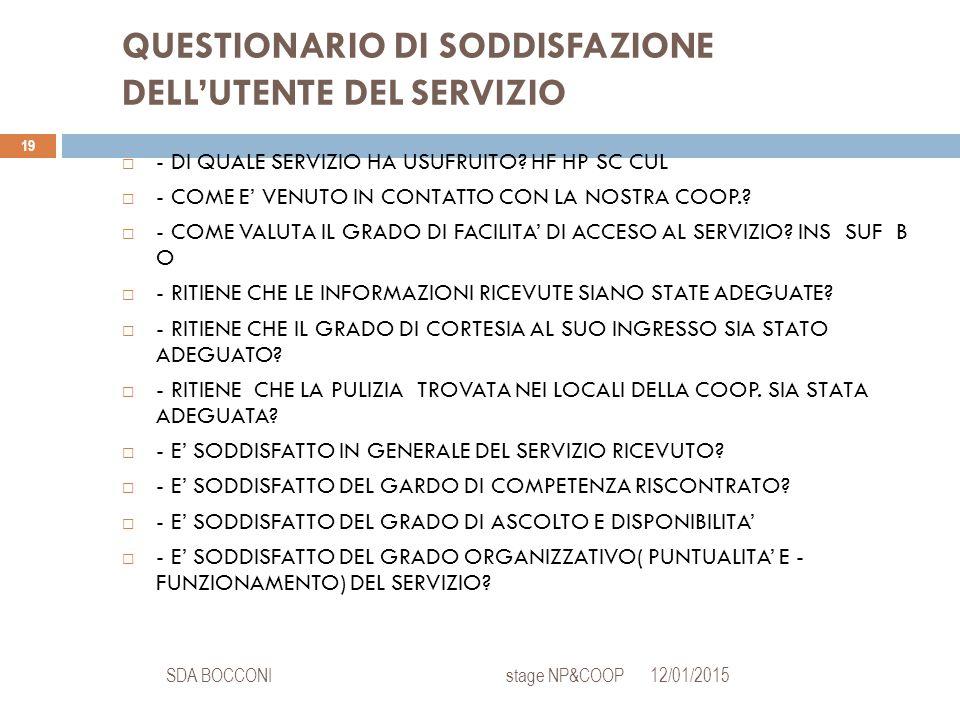 QUESTIONARIO DI SODDISFAZIONE DELL'UTENTE DEL SERVIZIO 12/01/2015SDA BOCCONI stage NP&COOP 19  - DI QUALE SERVIZIO HA USUFRUITO? HF HP SC CUL  - COM