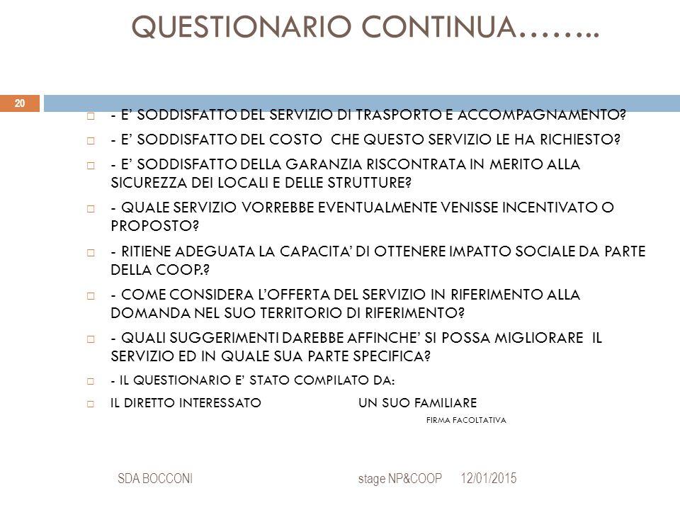QUESTIONARIO CONTINUA…….. 12/01/2015SDA BOCCONI stage NP&COOP 20  - E' SODDISFATTO DEL SERVIZIO DI TRASPORTO E ACCOMPAGNAMENTO?  - E' SODDISFATTO DE