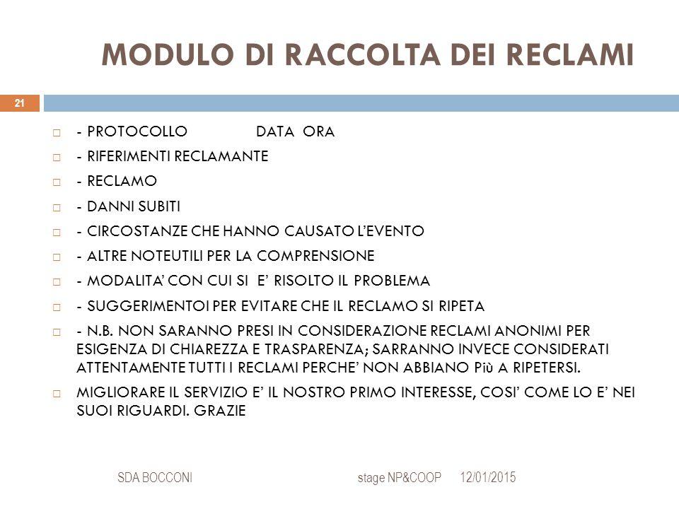 MODULO DI RACCOLTA DEI RECLAMI 12/01/2015SDA BOCCONI stage NP&COOP 21  - PROTOCOLLODATA ORA  - RIFERIMENTI RECLAMANTE  - RECLAMO  - DANNI SUBITI  - CIRCOSTANZE CHE HANNO CAUSATO L'EVENTO  - ALTRE NOTEUTILI PER LA COMPRENSIONE  - MODALITA' CON CUI SI E' RISOLTO IL PROBLEMA  - SUGGERIMENTOI PER EVITARE CHE IL RECLAMO SI RIPETA  - N.B.