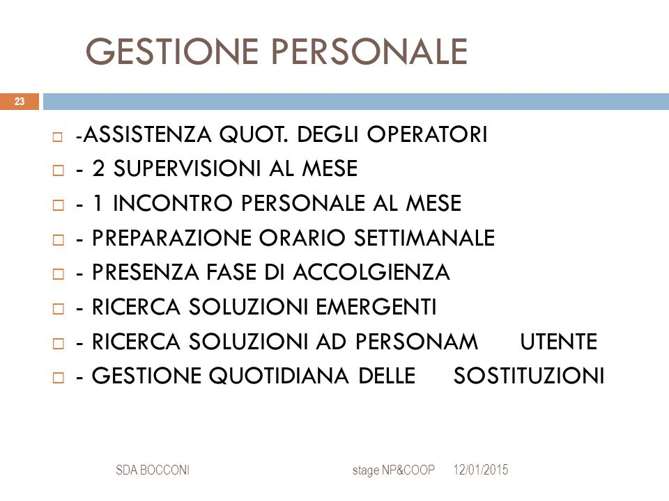 GESTIONE PERSONALE 12/01/2015SDA BOCCONI stage NP&COOP 23  - ASSISTENZA QUOT.