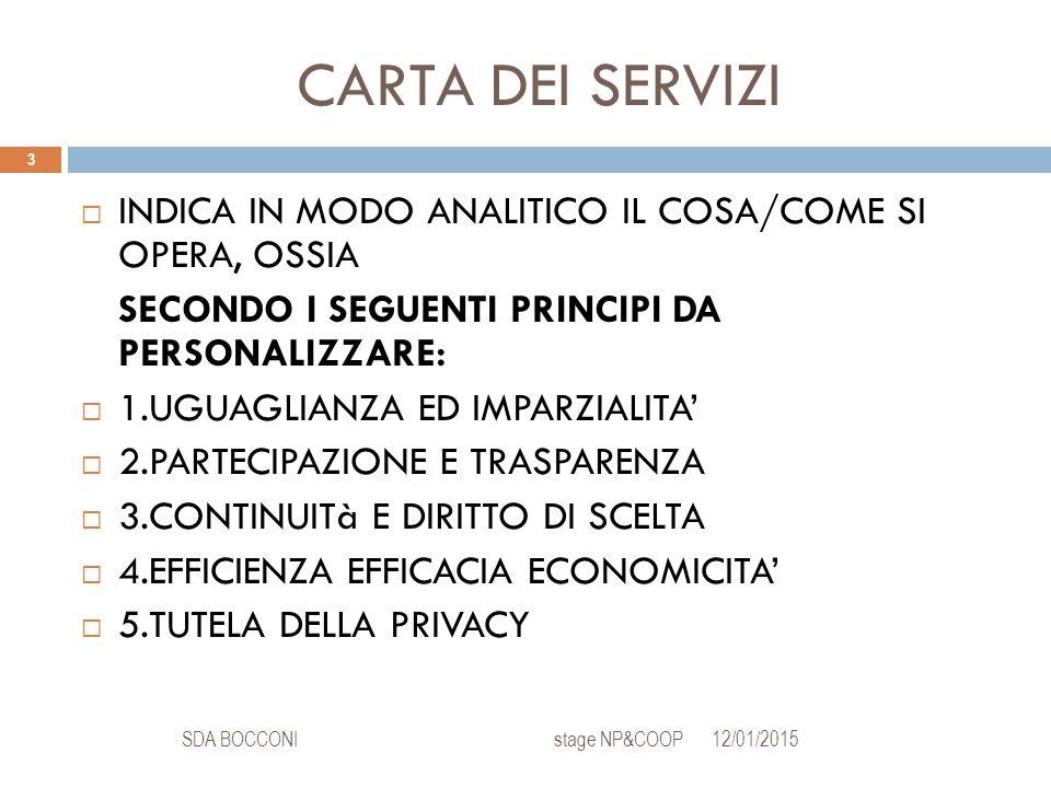 CARTA DEI SERVIZI 12/01/2015SDA BOCCONI stage NP&COOP 3  INDICA IN MODO ANALITICO IL COSA/COME SI OPERA, OSSIA SECONDO I SEGUENTI PRINCIPI DA PERSONALIZZARE:  1.UGUAGLIANZA ED IMPARZIALITA'  2.PARTECIPAZIONE E TRASPARENZA  3.CONTINUITà E DIRITTO DI SCELTA  4.EFFICIENZA EFFICACIA ECONOMICITA'  5.TUTELA DELLA PRIVACY