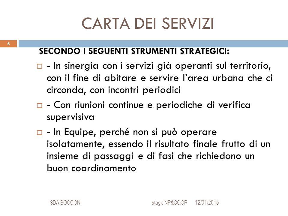 CARTA DEI SERVIZI 12/01/2015SDA BOCCONI stage NP&COOP 6 SECONDO I SEGUENTI STRUMENTI STRATEGICI :  - In sinergia con i servizi già operanti sul terri
