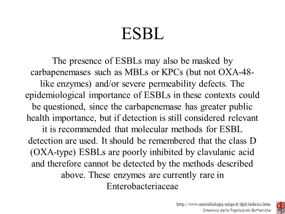 http://www.microbiologia.unige.it/dpb/indexxx.htm Dinamica delle Popolazioni Batteriche ESBL The presence of ESBLs may also be masked by carbapenemase
