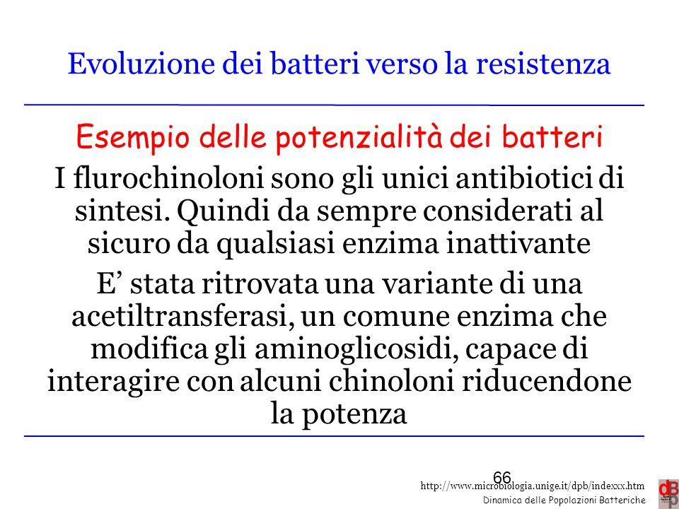 http://www.microbiologia.unige.it/dpb/indexxx.htm Dinamica delle Popolazioni Batteriche Evoluzione dei batteri verso la resistenza Esempio delle poten