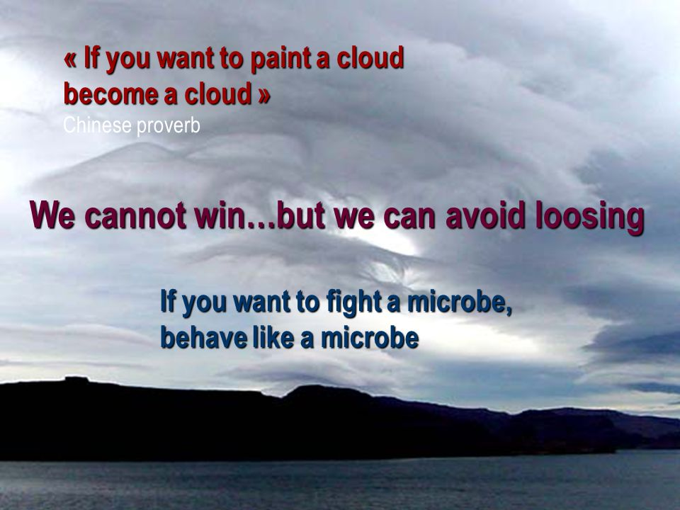 80 « If you want to paint a cloud become a cloud » Chinese proverb If you want to fight a microbe, behave like a microbe We cannot win…but we can avoi