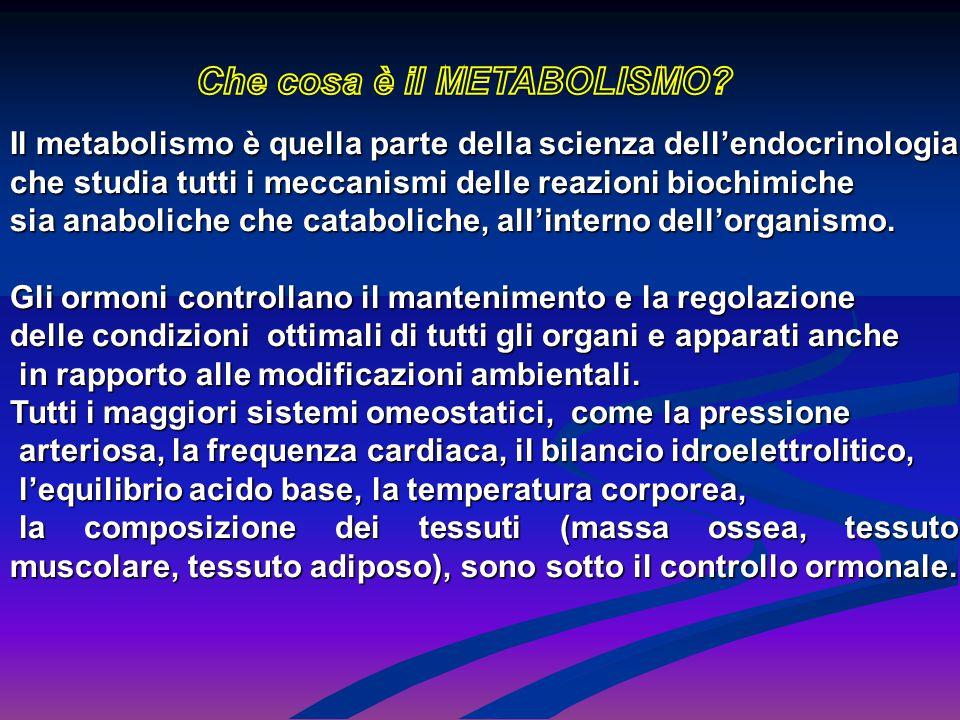Il metabolismo è quella parte della scienza dell'endocrinologia che studia tutti i meccanismi delle reazioni biochimiche sia anaboliche che catabolich