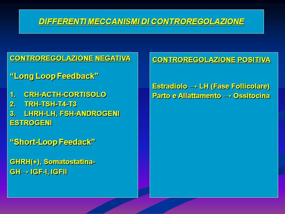 """DIFFERENTI MECCANISMI DI CONTROREGOLAZIONE CONTROREGOLAZIONE NEGATIVA """"Long Loop Feedback"""" 1.CRH-ACTH-CORTISOLO 2.TRH-TSH-T4-T3 3.LHRH-LH, FSH-ANDROGE"""