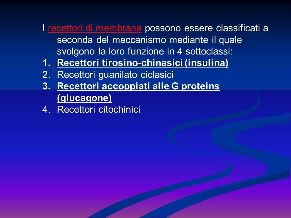 I recettori di membrana possono essere classificati a seconda del meccanismo mediante il quale svolgono la loro funzione in 4 sottoclassi: 1.Recettori