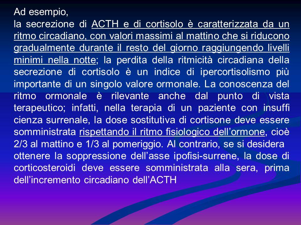 Ad esempio, la secrezione di ACTH e di cortisolo è caratterizzata da un ritmo circadiano, con valori massimi al mattino che si riducono gradualmente d