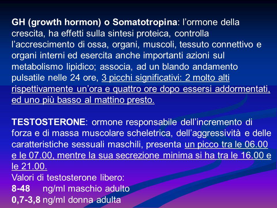 GH (growth hormon) o Somatotropina: l'ormone della crescita, ha effetti sulla sintesi proteica, controlla l'accrescimento di ossa, organi, muscoli, te