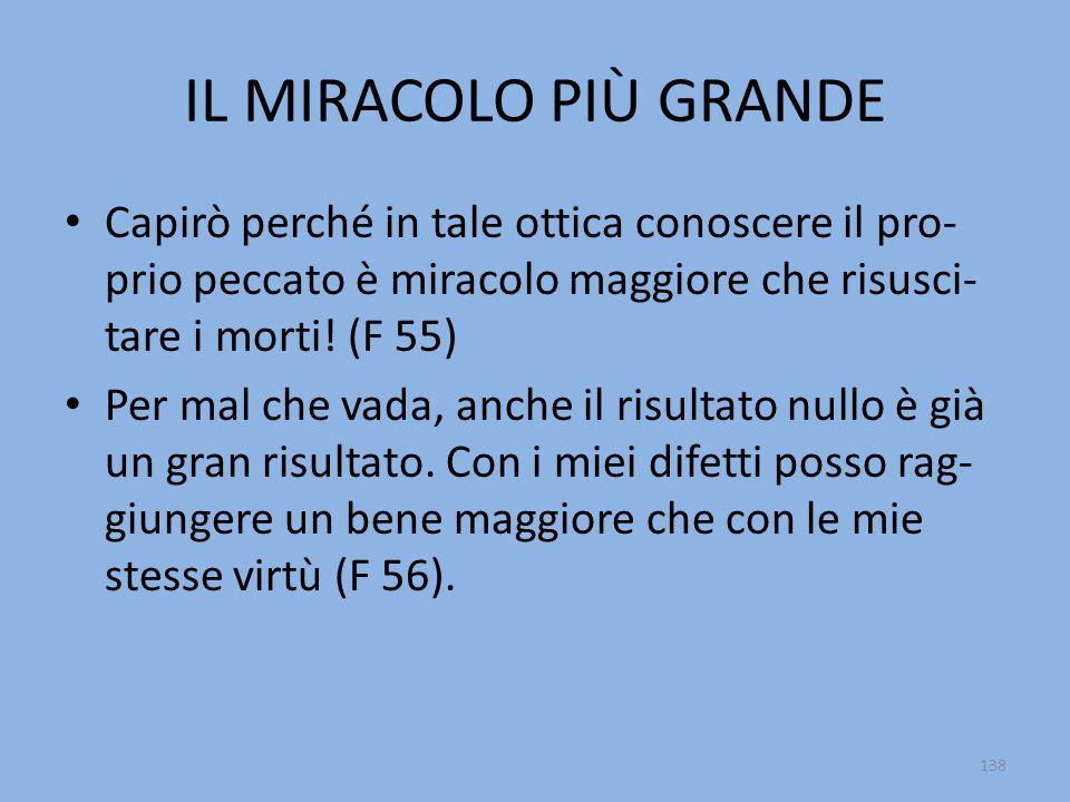 IL MIRACOLO PIÙ GRANDE Capirò perché in tale ottica conoscere il pro- prio peccato è miracolo maggiore che risusci- tare i morti! (F 55) Per mal che v