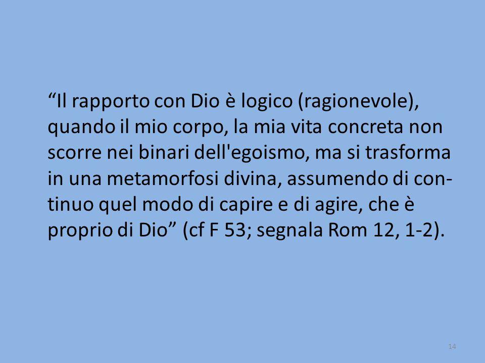 Il rapporto con Dio è logico (ragionevole), quando il mio corpo, la mia vita concreta non scorre nei binari dell egoismo, ma si trasforma in una metamorfosi divina, assumendo di con- tinuo quel modo di capire e di agire, che è proprio di Dio (cf F 53; segnala Rom 12, 1-2).