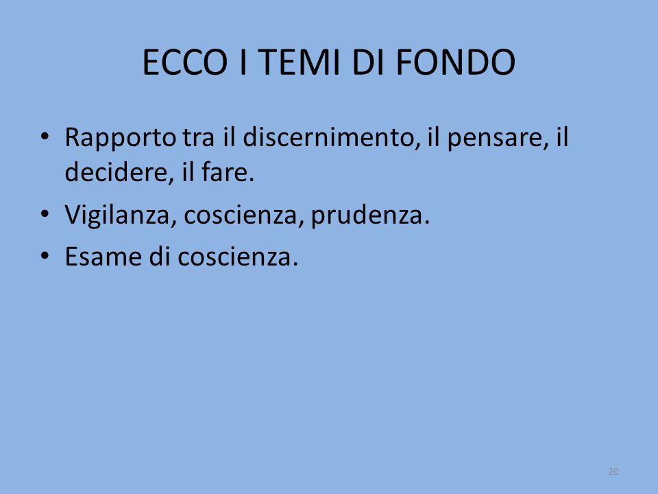 ECCO I TEMI DI FONDO Rapporto tra il discernimento, il pensare, il decidere, il fare.