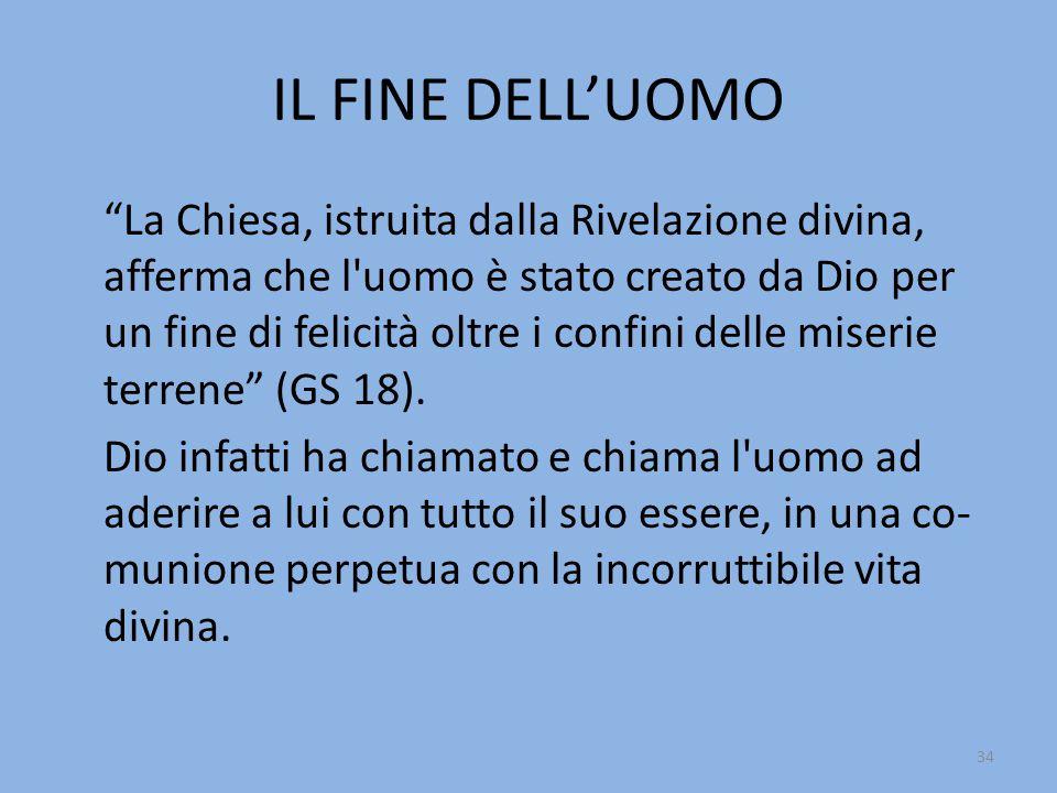 """IL FINE DELL'UOMO """"La Chiesa, istruita dalla Rivelazione divina, afferma che l'uomo è stato creato da Dio per un fine di felicità oltre i confini dell"""