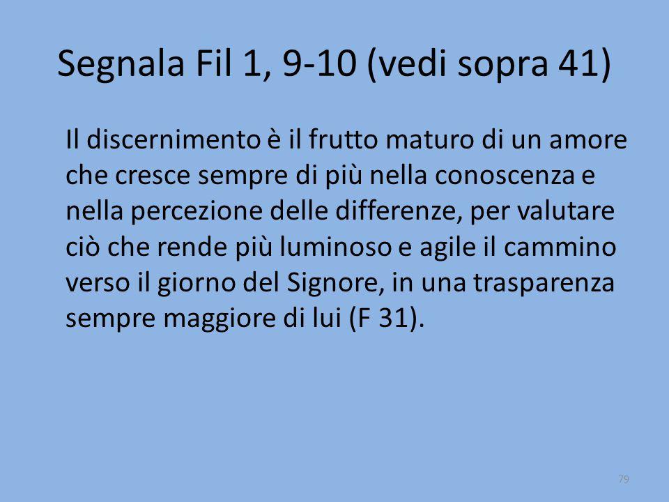 Segnala Fil 1, 9-10 (vedi sopra 41) Il discernimento è il frutto maturo di un amore che cresce sempre di più nella conoscenza e nella percezione delle