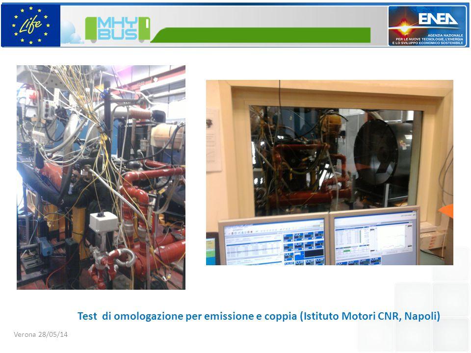 Verona 28/05/14 Test di omologazione per emissione e coppia (Istituto Motori CNR, Napoli)