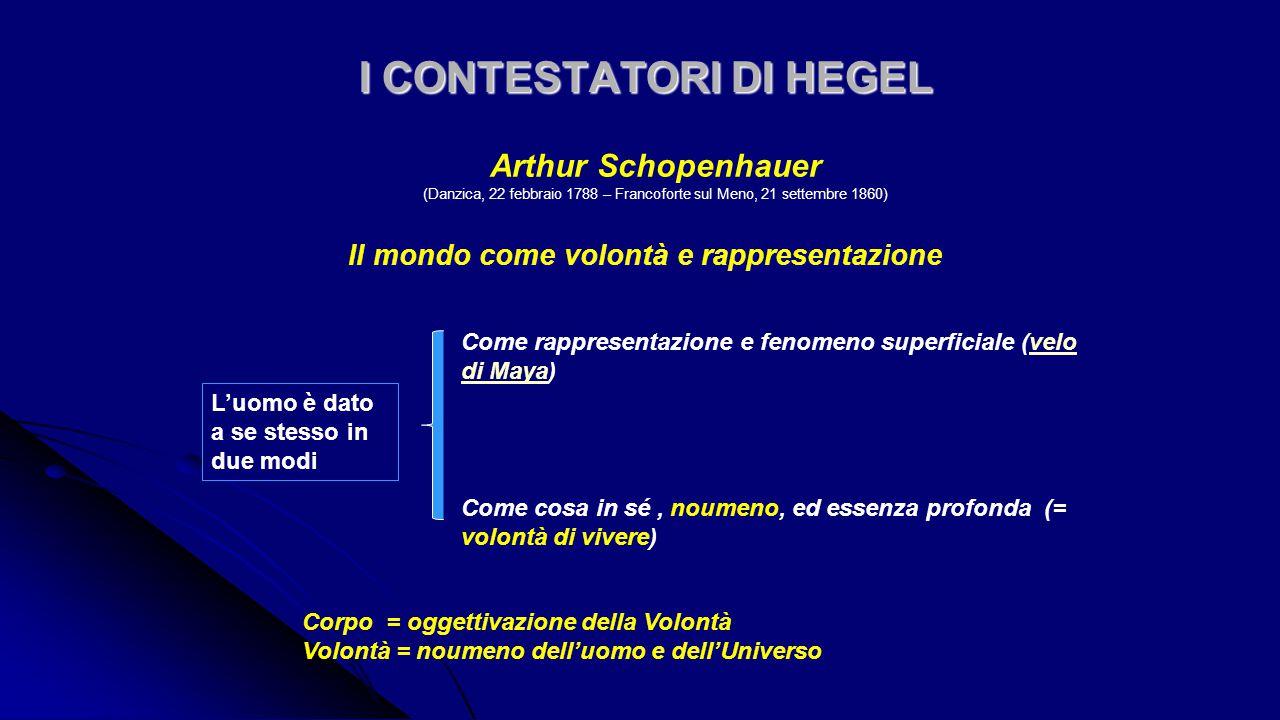 I CONTESTATORI DI HEGEL I CONTESTATORI DI HEGEL Il mondo come volontà e rappresentazione Il mondo come volontà e rappresentazione Arthur Schopenhauer