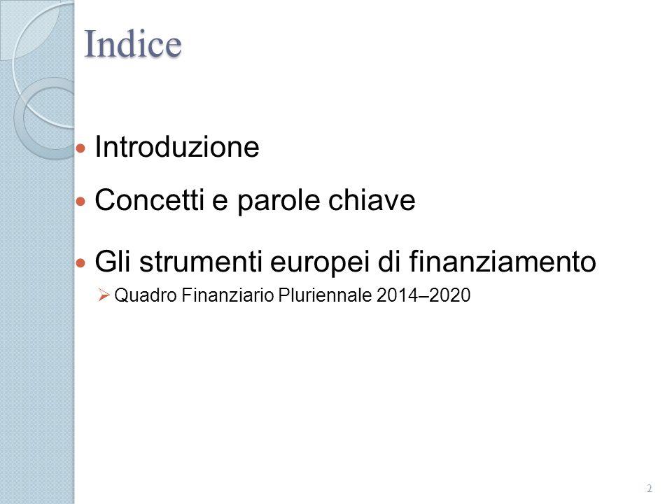 Indice Introduzione Concetti e parole chiave Gli strumenti europei di finanziamento  Quadro Finanziario Pluriennale 2014–2020 2