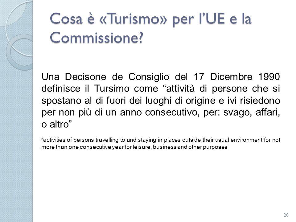 """Cosa è «Turismo» per l'UE e la Commissione? 20 Una Decisone de Consiglio del 17 Dicembre 1990 definisce il Tursimo come """"attività di persone che si sp"""