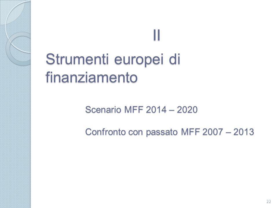 Strumenti europei di finanziamento Scenario MFF 2014 – 2020 Confronto con passato MFF 2007 – 2013 22 II