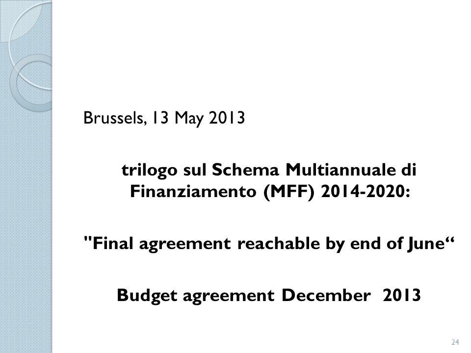 Brussels, 13 May 2013 trilogo sul Schema Multiannuale di Finanziamento (MFF) 2014-2020: