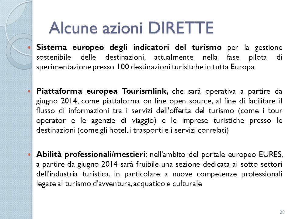 Sistema europeo degli indicatori del turismo per la gestione sostenibile delle destinazioni, attualmente nella fase pilota di sperimentazione presso 1