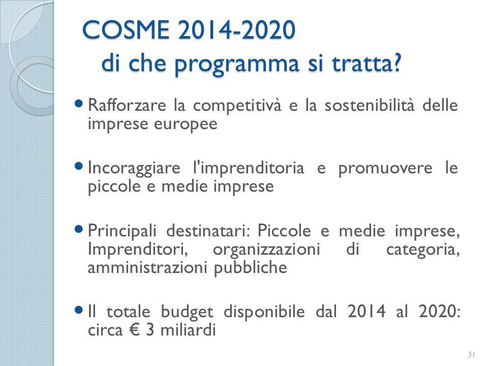 Rafforzare la competitivà e la sostenibilità delle imprese europee Incoraggiare l'imprenditoria e promuovere le piccole e medie imprese Principali des