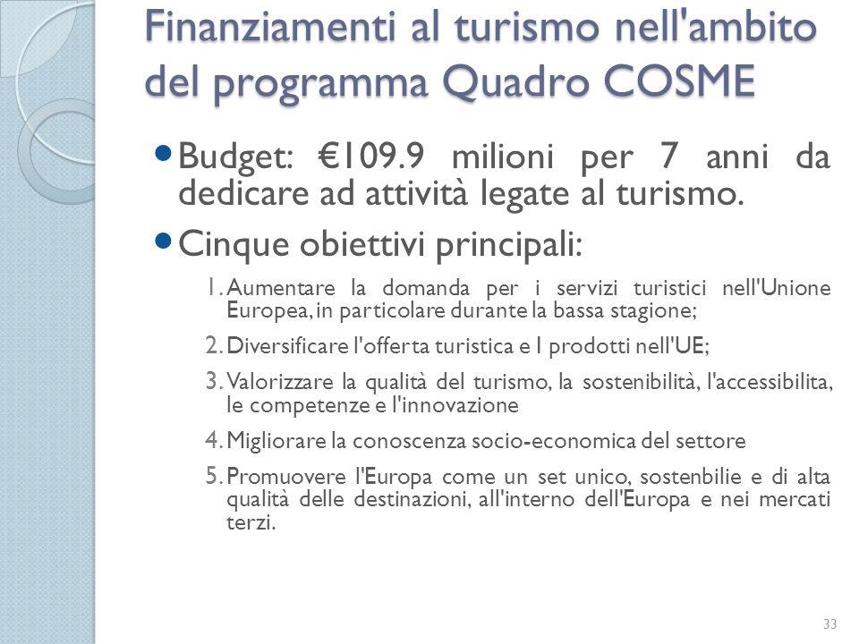 Budget: €109.9 milioni per 7 anni da dedicare ad attività legate al turismo. Cinque obiettivi principali: 1. Aumentare la domanda per i servizi turist