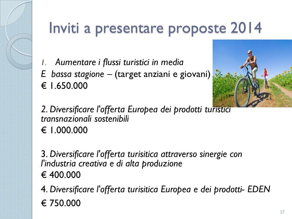 1. Aumentare i flussi turistici in media E bassa stagione – (target anziani e giovani) € 1.650.000 2. Diversificare l'offerta Europea dei prodotti tur