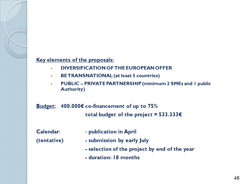 Key elements of the proposals: - DIVERSIFICATION OF THE EUROPEAN OFFER -BE TRANSNATIONAL (at least 5 countries) - PUBLIC – PRIVATE PARTNERSHIP (minimu