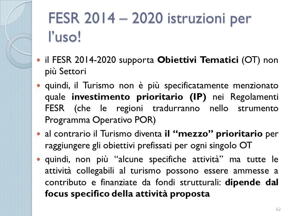 FESR 2014 – 2020 istruzioni per l'uso! il FESR 2014-2020 supporta Obiettivi Tematici (OT) non più Settori quindi, il Turismo non è più specificatament