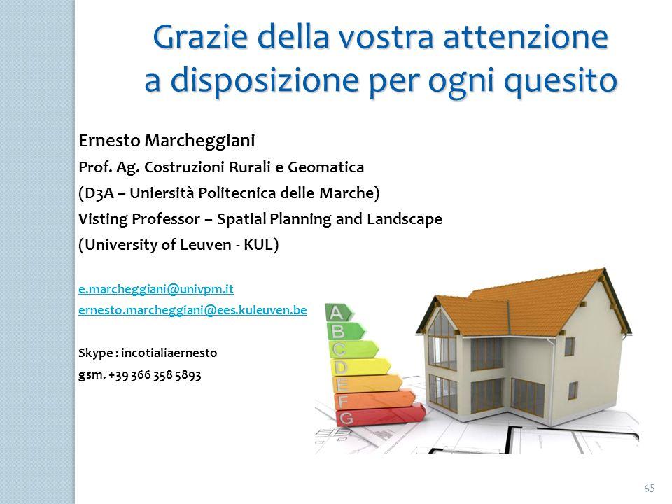 65 Grazie della vostra attenzione a disposizione per ogni quesito Ernesto Marcheggiani Prof. Ag. Costruzioni Rurali e Geomatica (D3A – Uniersità Polit