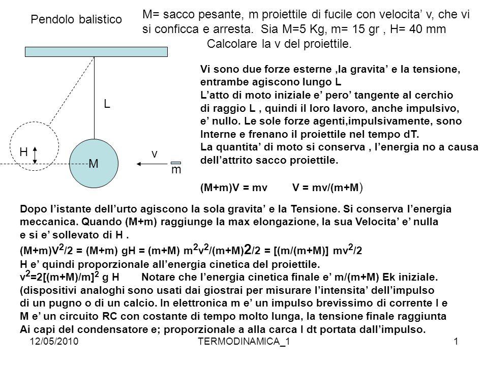 12/05/2010TERMODINAMICA_11 Pendolo balistico M v m Vi sono due forze esterne,la gravita' e la tensione, entrambe agiscono lungo L L'atto di moto inizi
