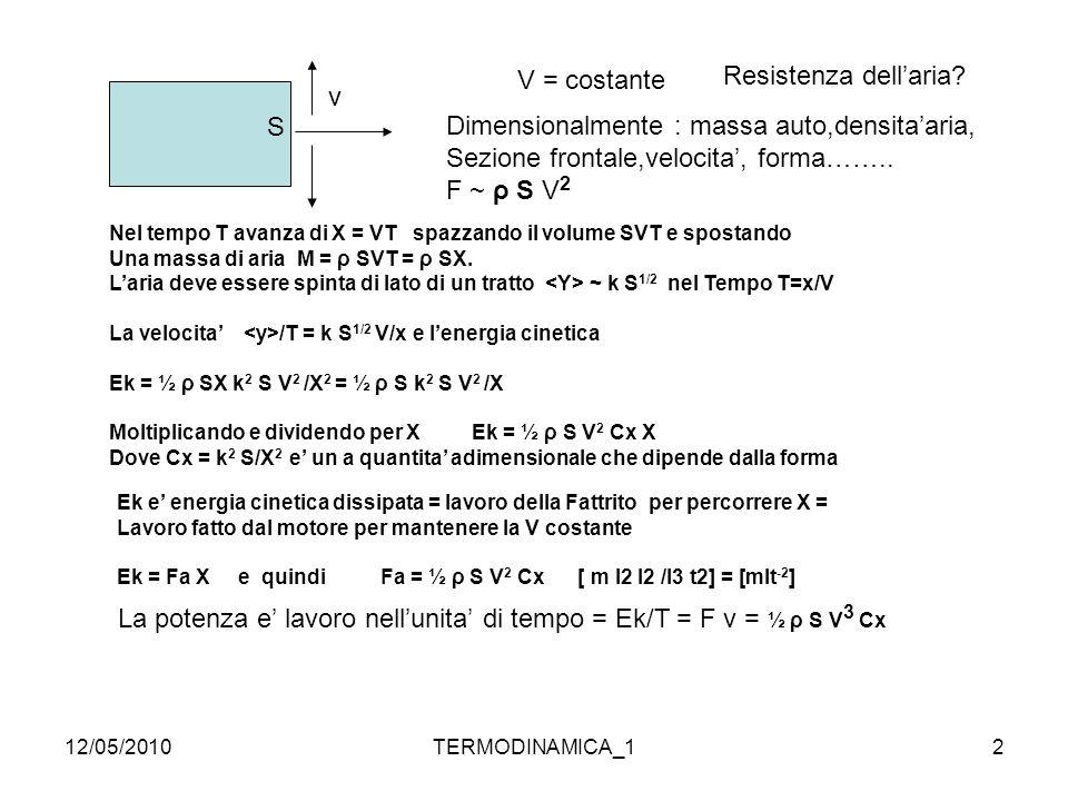 12/05/2010TERMODINAMICA_113 oppure Le trasformazioni piu' comuni nei sistemi fisici sono: isoterme, PV= cost T = cost dU = dQ – dW = 0 dQ= dW= PdV adiabatiche, dQ= 0 dU = 0 – dW dU + dW = dU + PdV = 0 Trasformazione adiabatica: dU + P dV =0 dU puo' essere rappresentata come dU = Cv dT e P = RT/V R= Cp – Cv Cv dT + (Cp-Cv) T dV/V = 0 dT/T = - (Cp-Cv)/Cv x dV/ V ln T = - (γ -1) ln V + cost.