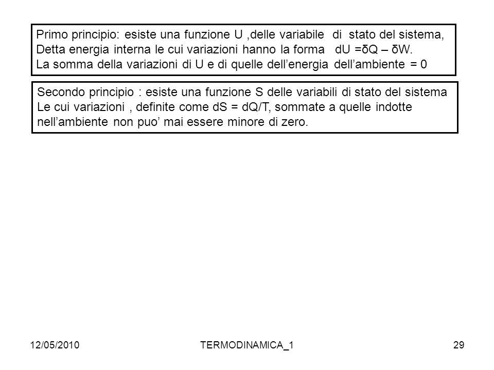 12/05/2010TERMODINAMICA_129 Primo principio: esiste una funzione U,delle variabile di stato del sistema, Detta energia interna le cui variazioni hanno
