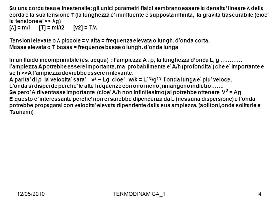 12/05/2010TERMODINAMICA_115 Velocita' del suono in aria : dimensionalmente m,P,V,T massa/ Vol.