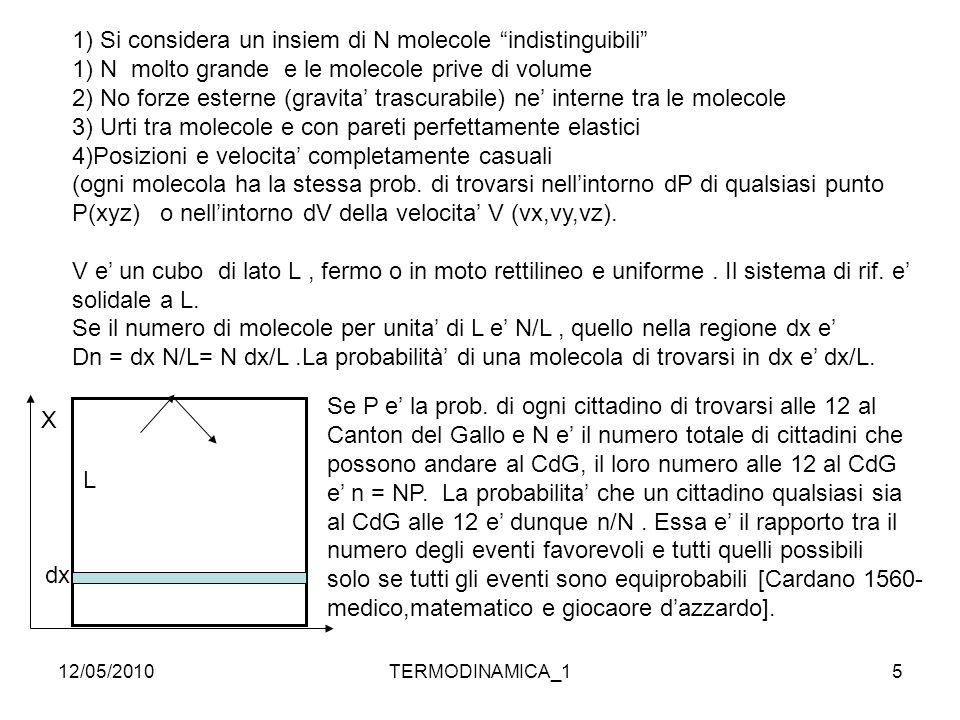 """12/05/2010TERMODINAMICA_15 1) Si considera un insiem di N molecole """"indistinguibili"""" 1) N molto grande e le molecole prive di volume 2) No forze ester"""