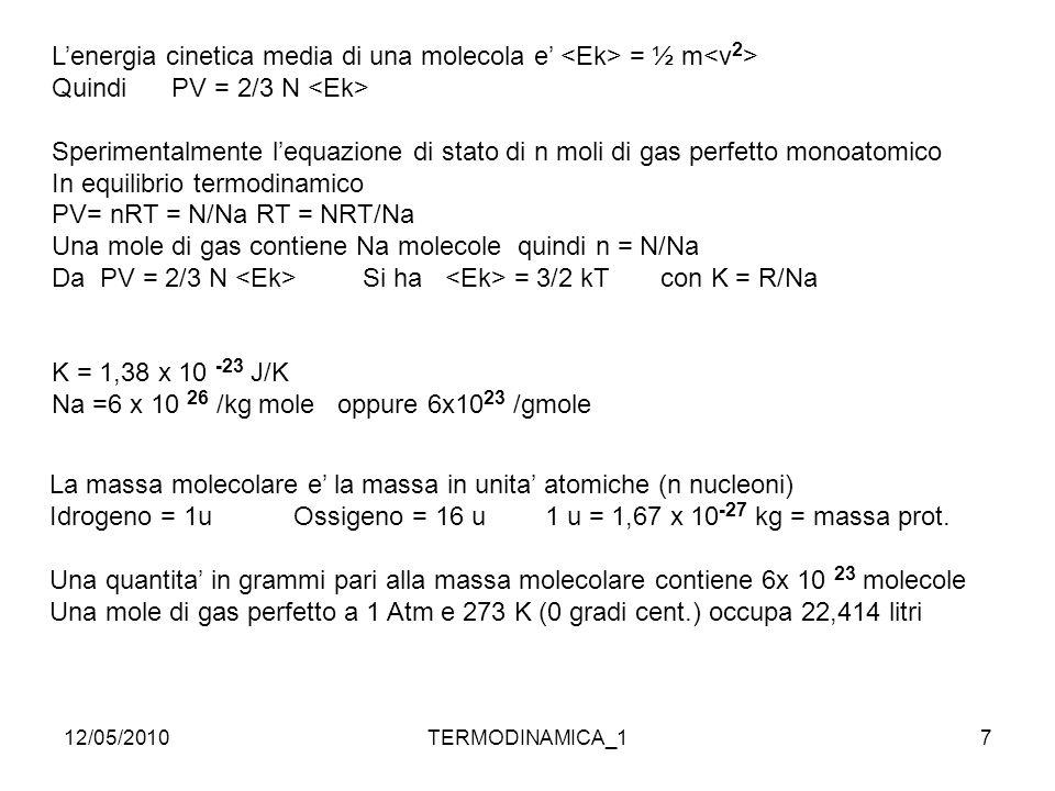 12/05/2010TERMODINAMICA_17 L'energia cinetica media di una molecola e' = ½ m Quindi PV = 2/3 N Sperimentalmente l'equazione di stato di n moli di gas