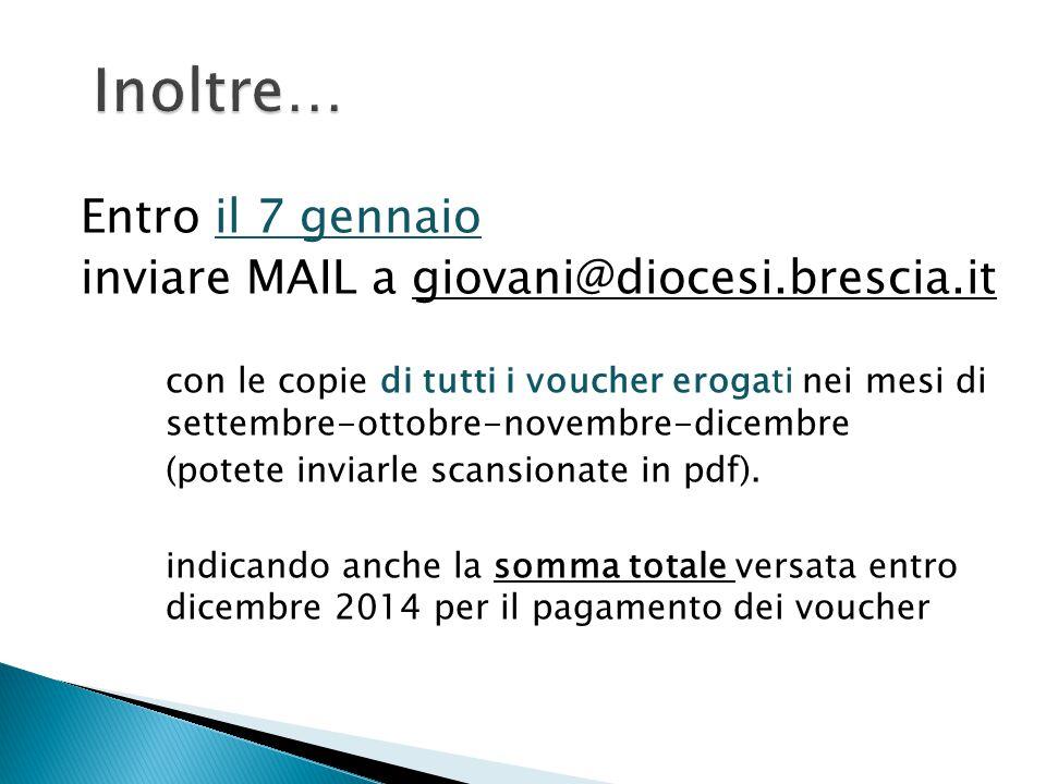 Entro il 7 gennaio inviare MAIL a giovani@diocesi.brescia.it con le copie di tutti i voucher erogati nei mesi di settembre-ottobre-novembre-dicembre (
