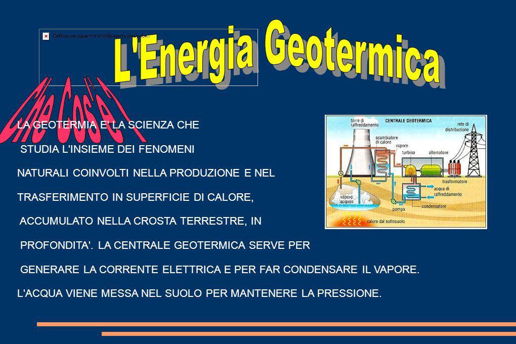L energia geotermica contenuta nella superficie terrestre, nasce dalle rocce fuse in profondità, che trasmettono calore alle rocce sopra di esse.