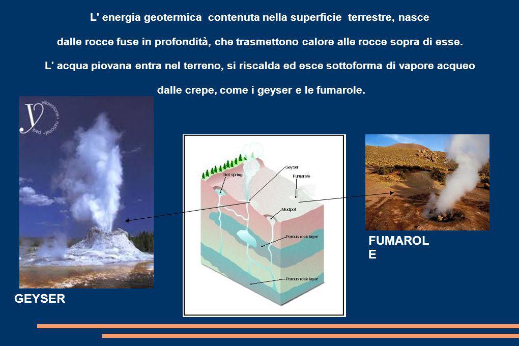 L' energia geotermica contenuta nella superficie terrestre, nasce dalle rocce fuse in profondità, che trasmettono calore alle rocce sopra di esse. L'