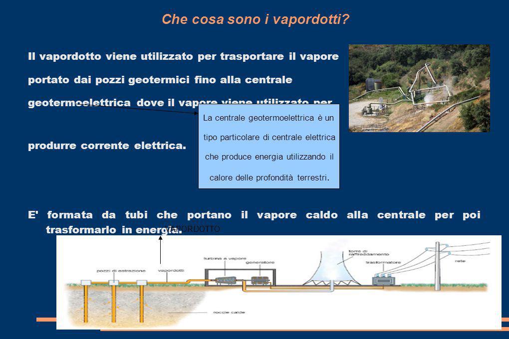 Che cosa sono i vapordotti? Il vapordotto viene utilizzato per trasportare il vapore portato dai pozzi geotermici fino alla centrale geotermoelettrica