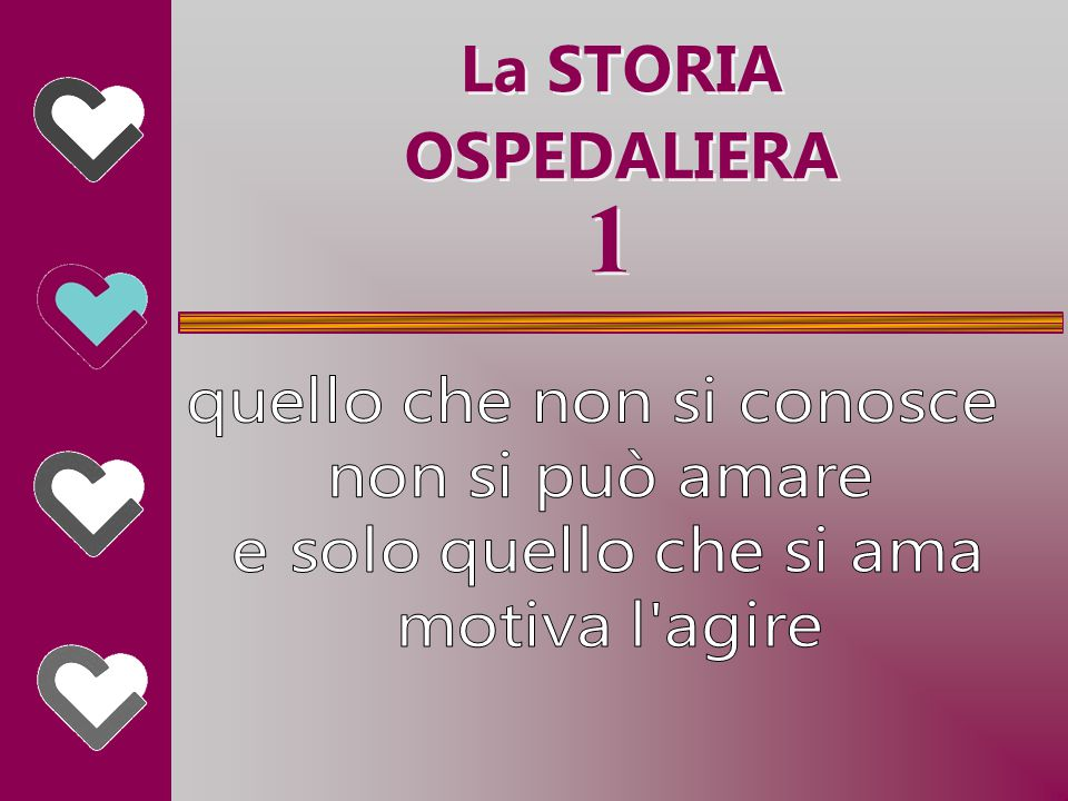 1 1 La STORIA OSPEDALIERA La STORIA OSPEDALIERA