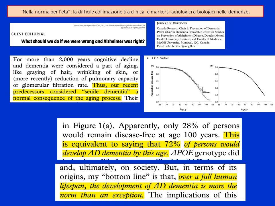 """""""Nella norma per l'età"""": la difficile collimazione tra clinica e markers radiologici e biologici nelle demenze."""