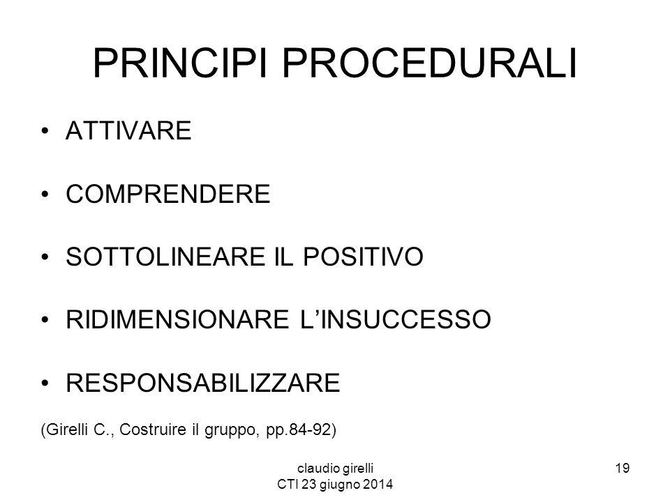 claudio girelli CTI 23 giugno 2014 PRINCIPI PROCEDURALI ATTIVARE COMPRENDERE SOTTOLINEARE IL POSITIVO RIDIMENSIONARE L'INSUCCESSO RESPONSABILIZZARE (G