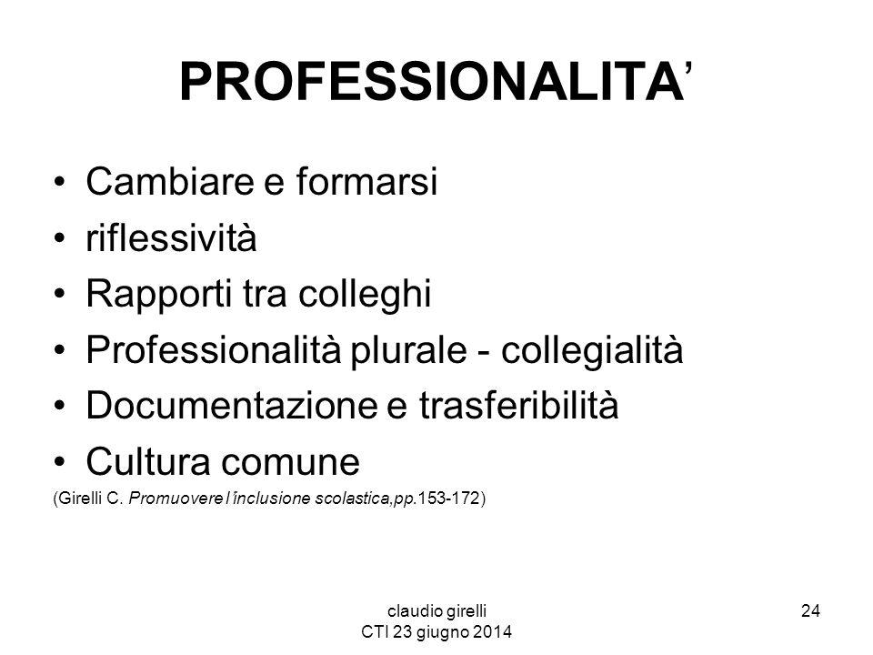 claudio girelli CTI 23 giugno 2014 PROFESSIONALITA' Cambiare e formarsi riflessività Rapporti tra colleghi Professionalità plurale - collegialità Docu