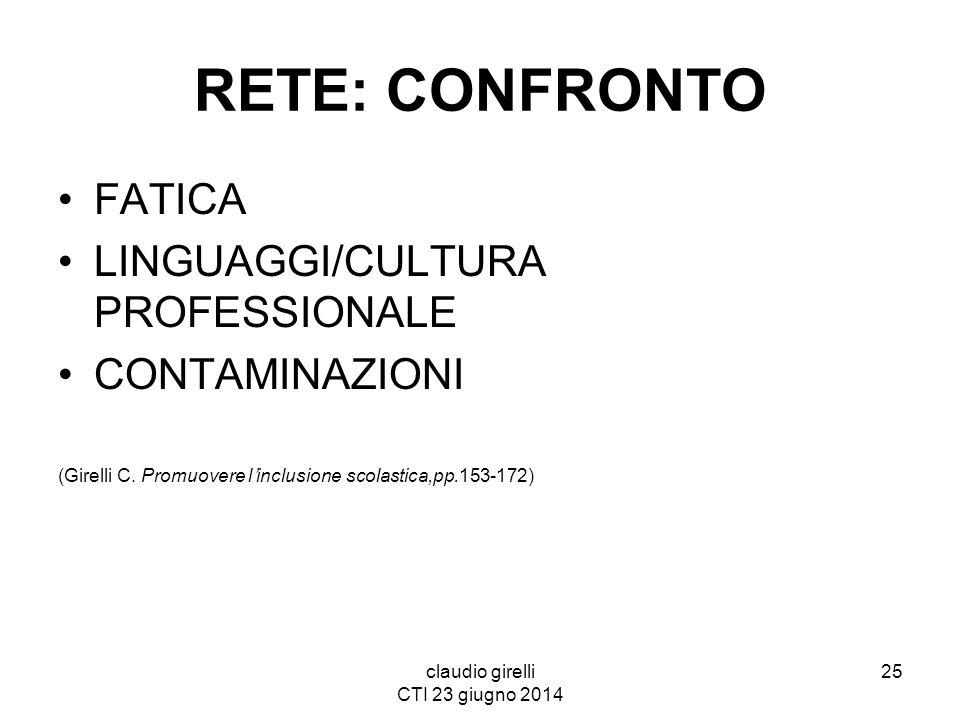 claudio girelli CTI 23 giugno 2014 RETE: CONFRONTO FATICA LINGUAGGI/CULTURA PROFESSIONALE CONTAMINAZIONI (Girelli C. Promuovere l'inclusione scolastic