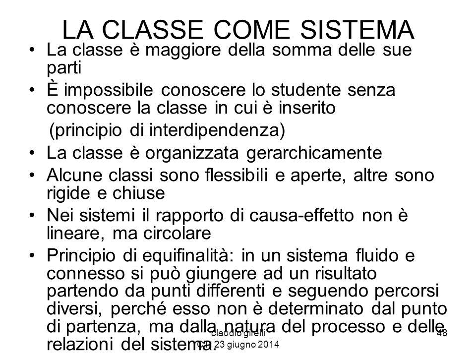 claudio girelli CTI 23 giugno 2014 LA CLASSE COME SISTEMA La classe è maggiore della somma delle sue parti È impossibile conoscere lo studente senza c
