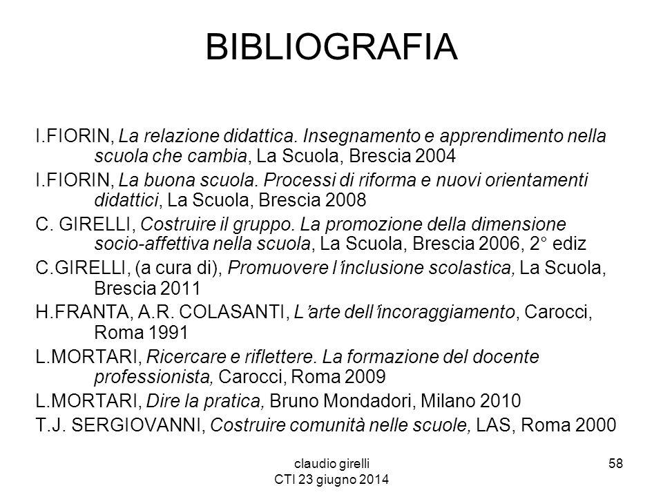 claudio girelli CTI 23 giugno 2014 BIBLIOGRAFIA I.FIORIN, La relazione didattica. Insegnamento e apprendimento nella scuola che cambia, La Scuola, Bre